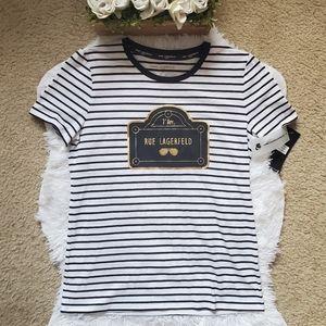 Karl Lagerfeld Rue Lagerfeld Striped T Shirt